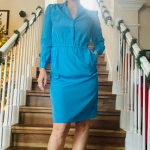 Vintage 1980's Knee Length Blue Secretary Dress Sm
